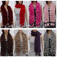 120*11cm winter warmer 100% Real rabbit fur  Genuine Rabbit Fur Scarf Neck Warmer Wraper Shawl Muffler