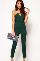 Free shipping new 2014 jumpsuit women Sexy Jumpsuit with Pleated Bust Origami Detail LC6211 S M L XL XXL plus size