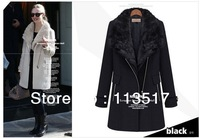 Free shipping Winter fur collar women outerwear coats/long-sleeve straight woolen thick spliced women's trench coat new 2014