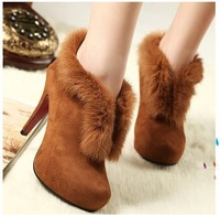 Cheaper Price Real Rabbit Hair Women's High Heels Ankle Boots,Lady 10cm Heel boot Shoes Hidden Platform Shoe Black,Brown colors