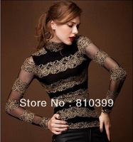 New Arrival Women's Long Sleeve Crochet Lace Hollow Out Slim Tshirt Top Tees T Shirt M~XXL Plus Size Freeshipping#TS113