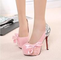 Free shipping 14mm high heels princess sexy snakeskin leopard print ribbon bow platform thin heels shoes sandal women brand 2014