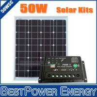 Free Shipping Monocrystalline 50W 18V PV Solar Panel, Solar Module + 10A 12V 24V Auto Adjustable Solar Charge Controller