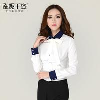 2015 women blouses spring  autumn women work wear long-sleeve chiffon blouse women slim chiffon blusas free shipping 15