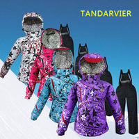 Polo 2014 Children Winter Dress Coat Clothing Set Snowboard Snow Girl Boy Child Skiing Hiking Jackets Ski Suit Pants Trousers