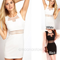 2013 Summer New Black White Stripes Dress Transparent Lace Women's Dresses Free Shipping Casual Vestidos E1356-10