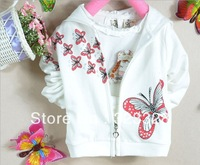 Retail  New 2014 Spring / autumn Children coat baby girls girl outerwear butterfly print long-sleeved hooded jacket,4colour