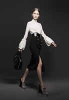 New 2014 Spring-summer Runway Show Retro Pullover Coat and Slim Skirt,Long Puff Sleeve,Elegant Width Belt,Cotton,Hot Sale DHB893
