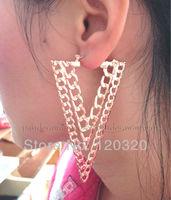 (Min order $10,Mix Order ) Fashion Gold Metal Geometry Hollowed Dangle Triangle Ear Stud Earrings