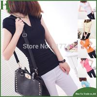 P010 Free Shipping European And American 2013 Summer New 100% Cotton Short Sleeve Basic T Shirt Women