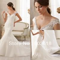 Newly Chariming Elegant 2014 Mermaid Wedding Dress V Neck Backless Chapel Train Applique Beading Zipper  Bridal Gown