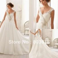 Latest Gorgeous Elegant 2014 Wedding Dress V Neck Backless Chapel Train Applique Lace Beading Zipper  Bridal Ball Gown