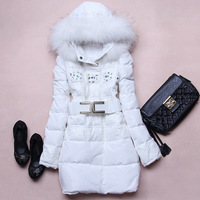 2013 new fashion winter long Slim thick white duck down raccoon fur collar jacket women down coats down parkas with Belt