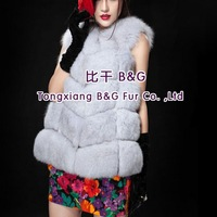 BG29334  2014 Fashion New Genuine Fox Fur Vest  Wholesale Retail  Winter Women's Fox Fur Vest