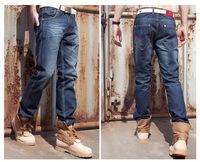 Free Shipping Men's clothing Fashion Cotton Dark Blue Vintage Distrressed Denim Pants classic men jeans