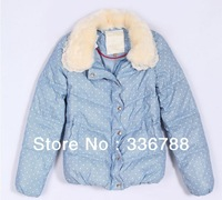2013 Winter Women Fur Coat, Light Elegant Blue Polka Dot Down Jakcet