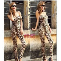 New Women Sexy Off Shoulder Leaopard Print Jumpsuits Siamese Straight Trousers Wholesale