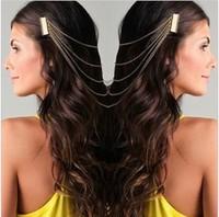 Punk Style Women Hair Cuff Pin Head Band Chains 2 Combs Hair Jewelry A6R1C