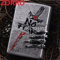 Free shipping Hot sell windproof flame oil lighter cigarette lighter zorro lighter for men with gift box