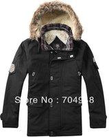 Hot selling-Men's Thicken Winter Hooded Warm Cotton Coats/ Outwear/ Men's Jackets Faux Fur Lining Black Color Plus Size