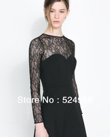 Free Shipping 2013 new Fairy Ladies Autumn winter Clean Color pullover lace sex dress XL5916