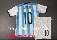 Messi # 10 Argentina World Cup 13/14 soccer jerseys and shorts children Children Youth / Junior top quality soccer uniforms