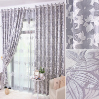 Silveryarn big jacquard fabric curtain window curtain customize lily silver grey