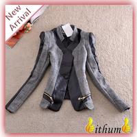 Spring 2014 Women blazer suit jacket Tops Outerwear Zipper Pu Leather Patchwork Slim women blazers and jackets Plus size xxxl