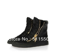 Free Shipping NEW Giuseppe GZ Shoes Black High-top Casual Sneakers Couple Shoes Black/White Flat Shoes