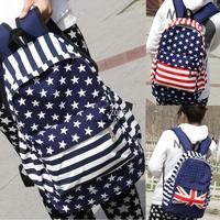 Unisex Canvas Striped Shoulder Bag Handbag School Book Campus Bag Backpack UK US Flag 18347