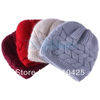 Free Shipping Winter Lady Woman's Cony Hair Woolly Knitted Beanie Hat Cap
