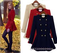 Elegant Women Long Sleeve Double-breasted Cashmere Empire Peplum Winter Coat Parka Jacket Overcoat Size S M L Free Shipping 0197