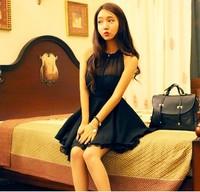 XL Lace Transparent Dresses Black Backless Asymmetrical Patchwork Lace Dress Womens Sleeveless Halter Sexy Chiffon Formal Dress