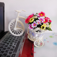 Free Shipping,quality rattan vase + flowers artificial flower set home decoration bike with chrysanthemum violet