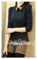 Free Shipping New 2014 Women Coat Knitting Women Clothing Long Sleeve Dot Print Cotton Rhinestone Collar Fashion Blue Plus Size