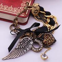 (mix order) Free Shipping & Fashion accessories personalized leopard print heart Women wings bracelet  TN-10.99