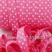 Cute Pinky Heart Print Fold Over Elastic - Printed FOE - 5/8 inch FOE - 50 Yards/Roll- Shiny for elastic Headbands