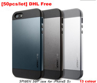[50pcs/lot] Wholesale DHL Free, Super Quality SPIGEN SGP Armor Pattern PC+Silicon Back Case For iPhone5 5S,13 Colors