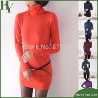 C001 Free Shipping Wholesale 2013 Autumn And Winter Orange Turtleneck Sweater Womens Slim Long Sleeve Warm Basic T Shirts