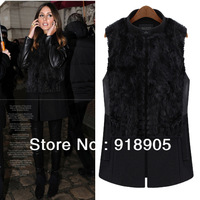 New 2013 Big Size Women's Vest Woolen Luxury Rabbit Fur Medium Long Stand Collar Color Block L to 5XL Autumn and Winter  YT8099