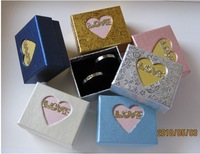 "Paper  Boxes 12pcs Mixed Color with ""LOVE"" 4.8*5.8*3.3cm Jewelry Set boxes Ring/earring Packaging Case ,Free Shipping,JDB-229"