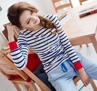 Wholesale & Retail 2pcs/lot Autumn Women's Casual Round Neck Long Sleeve Blue White Stripe T-Shirt Cotton Blends Tops 18937