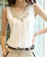 2014 New Fashion Summer Blouses Sleeveless Sexy Vest Harness Basic Shirt Women Black White Chiffon Tops Shirts Size XL XXL GBL03