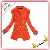 Women Blazer Candy Color Casual Blazer Suits Leopard Turn Back Cuff Lapel Jacket ladies blazer women white and Black Jacket Suit
