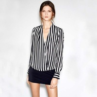 Fashion!!! Spring/Summer long-sleeve women's shirt V-Neck Chiffon Striped T-shirt  ,Cross tops ,S,M,L  freeshipping