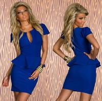 Free Shipping Sexy Women's Low-cut V Neck Evening Club Party Mini Dress OL Peplum Bandage Dresses Big Size S M L XL XXL4 Colors