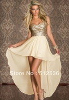 Hot designer sexy sequined celebrity dress,irregular cut ankle-length elegant dress,chiffon dress