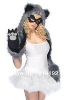 Ladies Adjustable Fashion Faux Fur Hat Panda Grey  hat stage props Warm Animal Cute Cap Claws Hat Ear Scarf and Glove Together