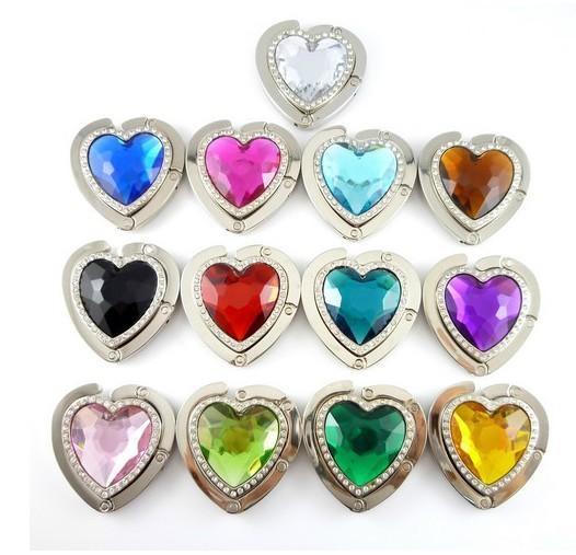 Hot Heart Crystal Table Hook Round Foldable Bag Hanger/Purse Hook/Handbag Holder with Acrylic Mix Fashion Free Shipping(China (Mainland))