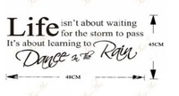 "Free shipping Lettering""Life Dance In the Rain""Wall Tattoo/Removable Wall Quote/Viny Decals Art 3D House Decor Wall Stickers"